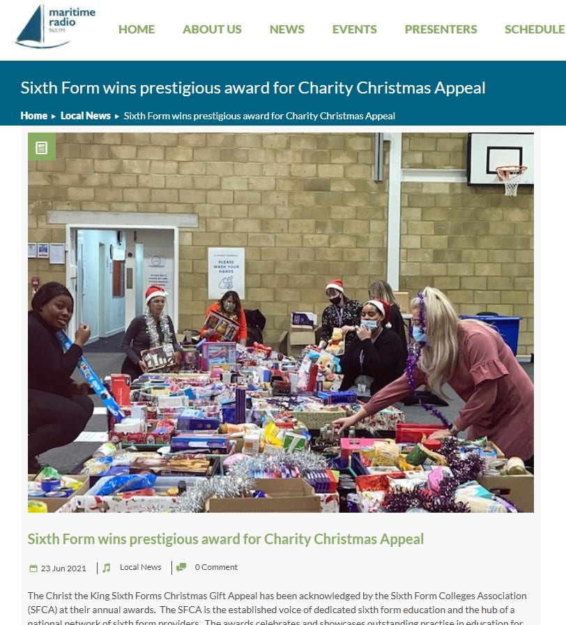 Sixth Form Wins Prestigious Award For Charity Christmas Appeal 2