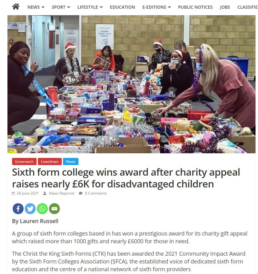 Sixth Form College Wins Award After Charity Appeal Raises Nearly 6K For Disadvantaged Children